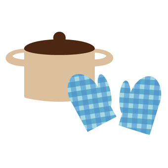 Kitchen supplies (mittens and pots)