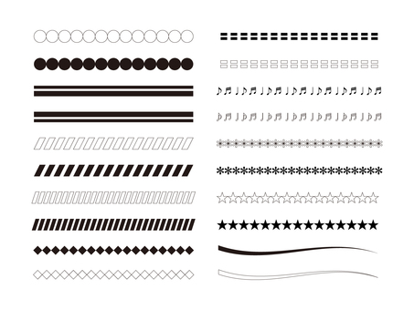 Separator line monochrome illustration set