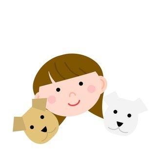 2 마리의 개와 여성