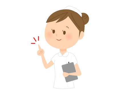 A woman in a nurse clothes that points her finger