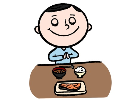 Man eating breakfast