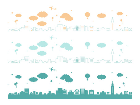 Cute cityscape line drawing silhouette material set