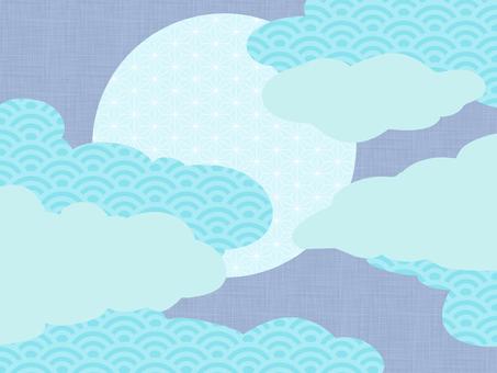 月と雲の和風背景素材/青a