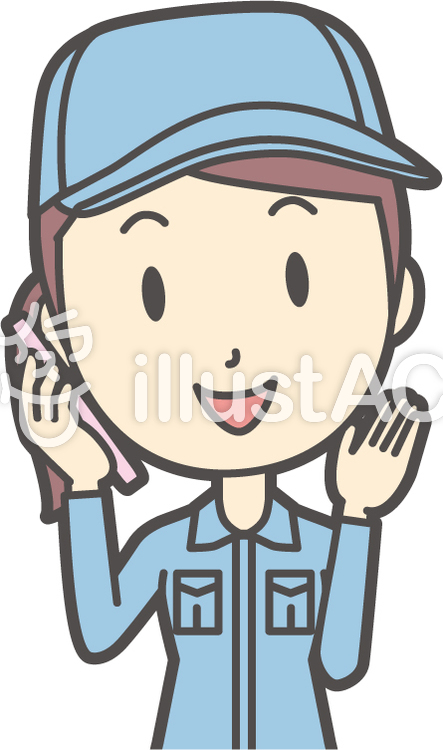 作業員女性ブルー-070-バストのイラスト