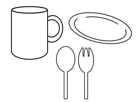 Basic tableware (frame only, transparent)