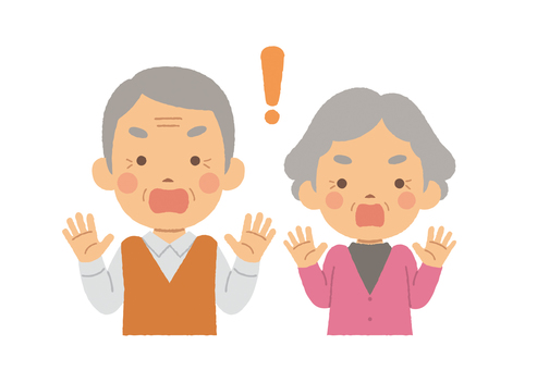 Elderly couple half body surprised