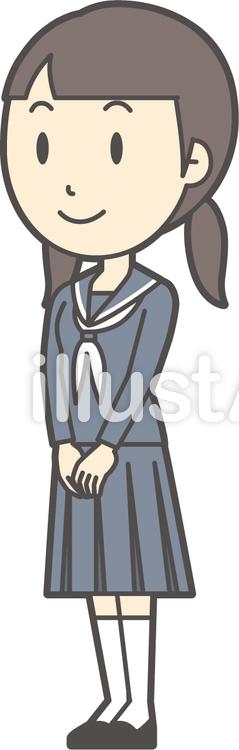 中学生セーラー女性-243-全身のイラスト