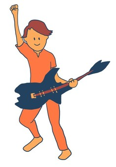 Guitarist raising arms