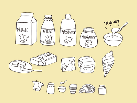 Dairy products (line drawing)