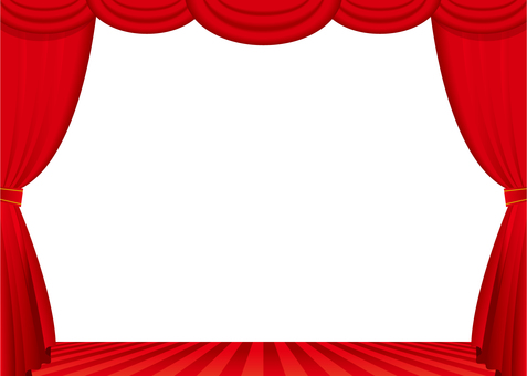 Red curtain and stage frame
