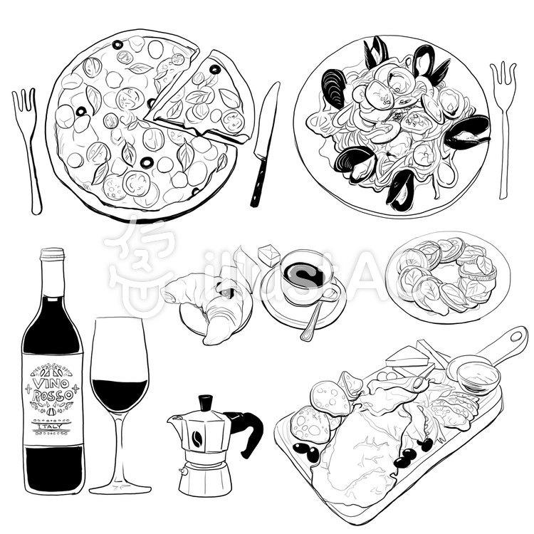 本格イタリア料理イラスト No 1480466無料イラストならイラストac