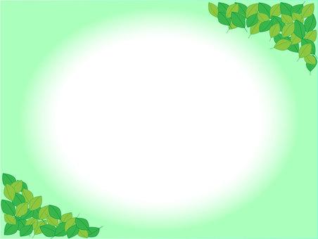나뭇잎 프레임 녹색 배경