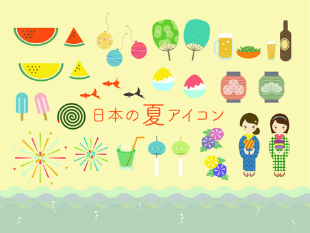 Summer icon material in Japan