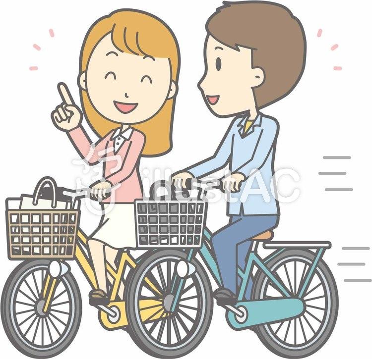 自転車男性-自転車並走-全身のイラスト