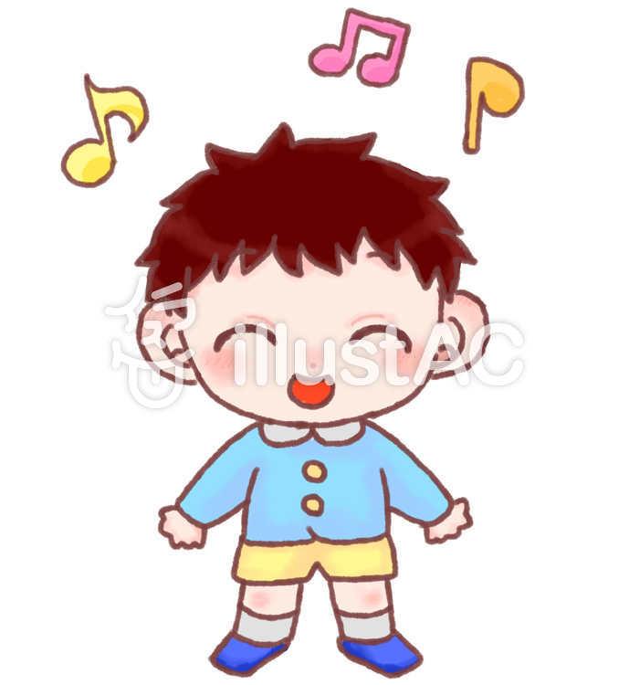 スモックを着て歌っている男の子イラスト No 1480096無料イラスト