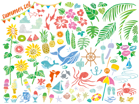 夏イラストアイコン手描き食物植物動物8月