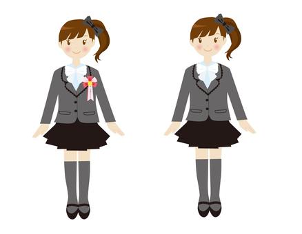 Formal girls white ribbon suit