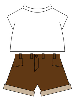 Plain T-shirt Brown Shorts