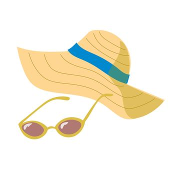 Straw hat and sunglasses yellow