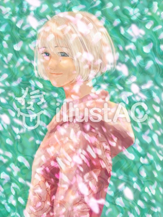 桜吹雪と白髪の女の子イラスト No 無料イラストなら イラストac