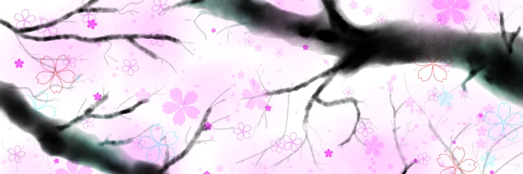 Inka style cherry blossoms (for Twitter header)