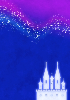 Starry sky of the night sky and castle · length