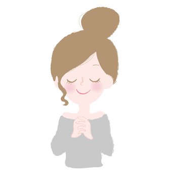 Illustration of a wishing woman