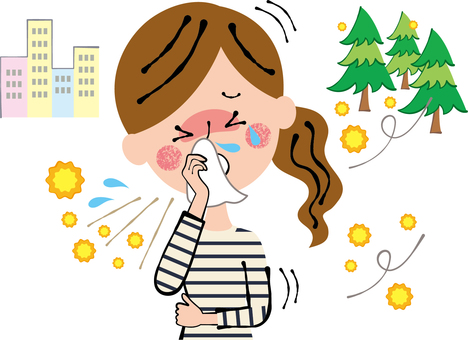 Hay Fever Slippery Sneezing Tissue Wiping Woman