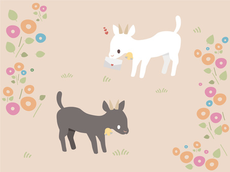 Cute white goat and black goat illustration