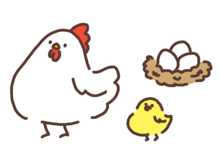 Chickens and chicks with eggs