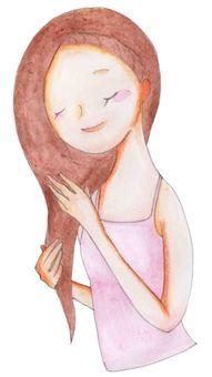 一個女人摸她的頭髮
