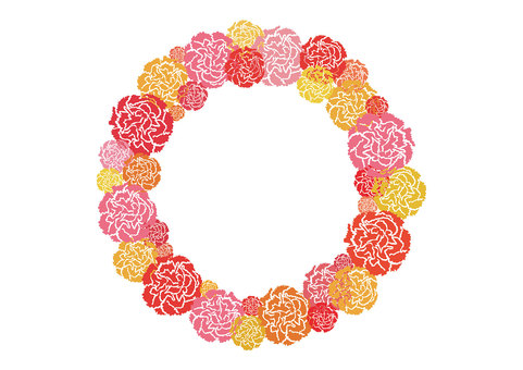 Flower frame (carnation _ warm color _ circle)
