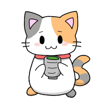 Calico cat drinking tea