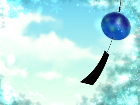 Wind chimes and blue sky