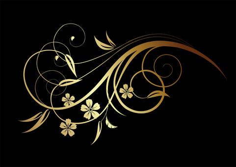 Decorative frame flower / gold