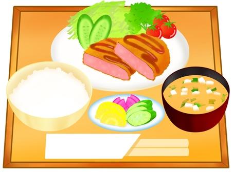 Ham cutlet set meal