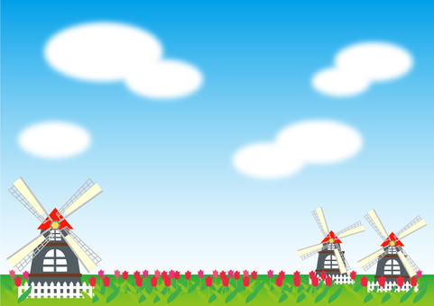 Windmill and tulip