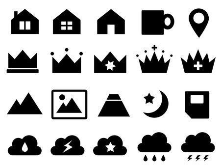 Icons for house, crown, cloud, mountain, SIM etc.