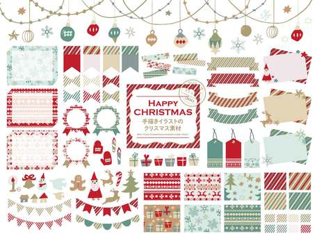 Christmas material of hand-drawn illustrations