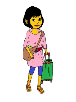 Woman pulling a suitcase / png version background transparent