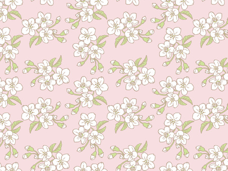 Spring cherry tree tile pattern (repeat) B 01