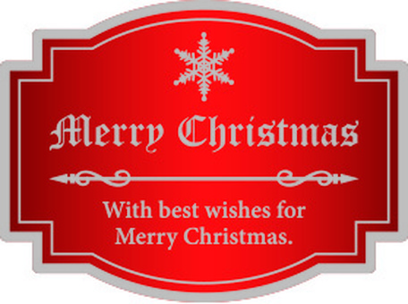 Christmas label red and silver