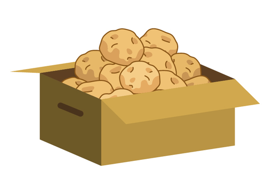 大量的瓦楞紙箱中的土豆