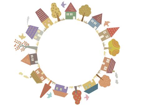 家と木 円形フレーム