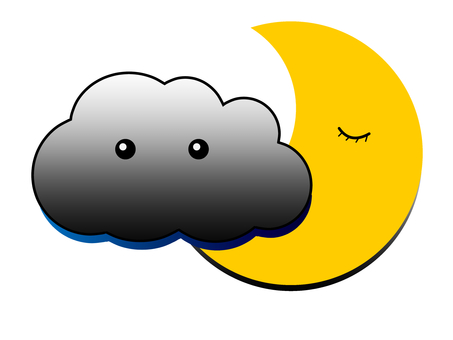 Black cloud and moon