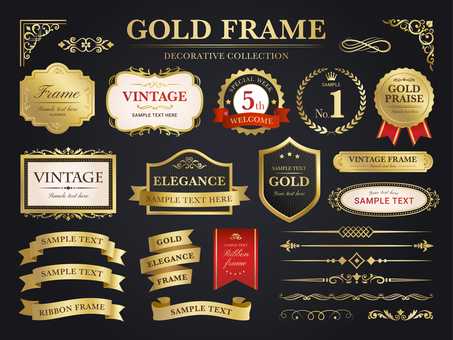 Gold decoration · ribbon and frame set