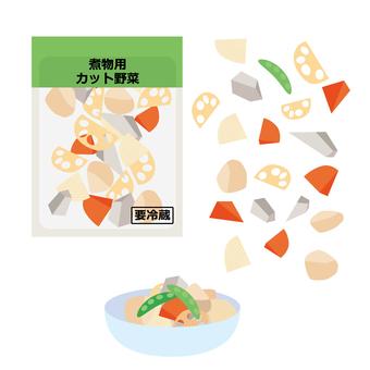 Cut vegetables for boiled food