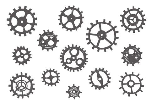 A lot of handwritten gears