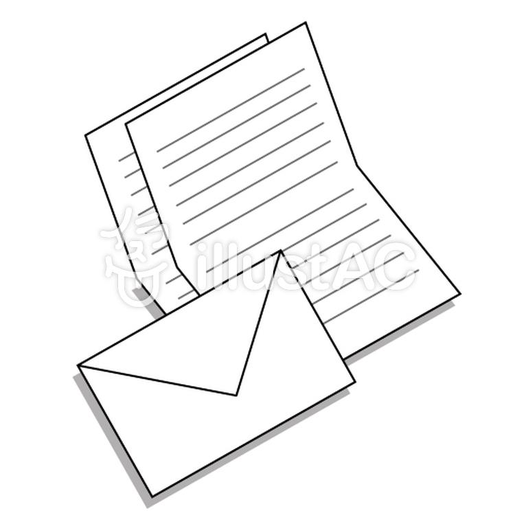 シンプルな手紙のイメージ便箋と封筒イラスト No 709239無料