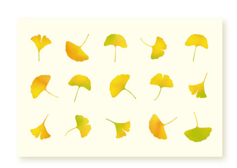 Japanese style watercolor is a leaf postcard size of ginkgo